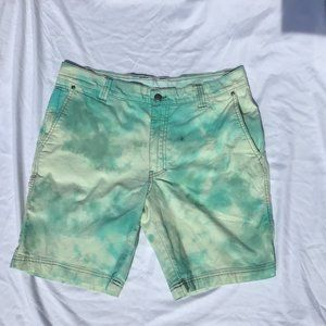 Upcycled Tie Dye Pastel Blue Green Columbia shorts